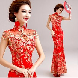 Wholesale Chinese Sexy Photos - 2017 New Real Photo Vintage Evening Dress Chinese Style In Cheongsam Sheath Mermaid Sexy Formal Bridesmaid Dress Embroidered Lady Prom Dress