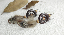 Wholesale Jewelry Wholesale Feather Earrings - New Style Dreamcatcher Earring Feather Drop Earrings Vintage Brown Wood Pendant Hook Dangle Earrings For Women Fashion Jewelry