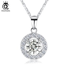 Wholesale Necklace Big Long - ORSA JEWELS 2017 Luxury Big Size AAA Austrian Cubic Zirconia 925 Sterling Silver Long Chain Pendants Necklaces for Women SN43