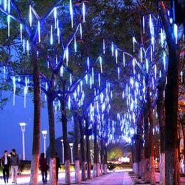 Wholesale Led Snowfall Light Tubes - Wholesale-30CM 90-280V LED Christmas Lights Outdoor Meteor Shower Rain Tubes Wedding Party Snowfall Tree Garden Xmas String Light EU