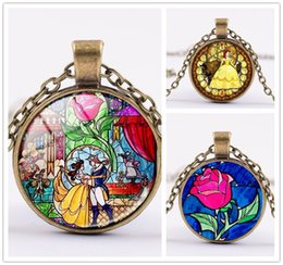 Wholesale Necklace Pendants For Kids - Multi style Belle princess time gem Pendant Necklaces 3colors Beauty and the Beast sweater chain Jewelry gifts for adult and kids