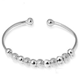 Wholesale Chinese Lucky Gift - 925 Sterling silver bracelets petty polished beads charm bracelets bangle chinese lucky blessing open design free shipping