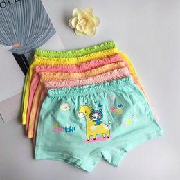 Wholesale Underwear Baby Cartoon - Children underwear girls organic cotton pants cartoon children in small baby student four angle 6 color shorts