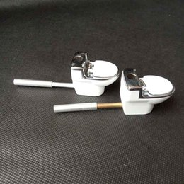 Wholesale Metal Snuff Grinder - metal Hand Toilet Pattern pipe tobacco cigarette pipes snuff snorter For Smoking Tools grinder Accessories rolling machine Dabber