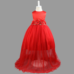 Wholesale Girls Formal Clothing - Kids Clothing Children Girls Dresses Elegant Flower Lace Long Dress Big Bow Round Neck Baby Girl Gown
