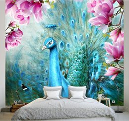 Wholesale magnolia wall - 3d stereoscopic Custom wallpapers for living room Peacock Magnolia 3d mural wallpapers for wall