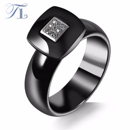 Wholesale Square Cabochon Settings - TL New Black Ceramic Ring Square Cabochon Zircon Stainless Steel Silver Unique Anniversary Ring Fashion Ceramic Rings For Women