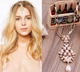 Wholesale Cheap Pink Ornaments - Bride Forehead Ornaments European Style Eyebrow Pendant Classic Headdress Pearl Diamond Hairpin Hair Ornaments Cheap Wedding Accessories