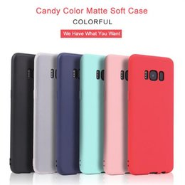 Wholesale Tpu Case Slim Galaxy - Candy Color TPU Case Matte Solid Color Shockproof Cover for Samsung Galaxy Note8 S6 S7 Edge S8Plus Silicone Soft Phone Back Slim Cover