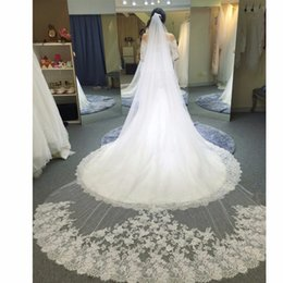 Wholesale Cathedral Mantilla - 2017 Voile Mariage 3 Meter White Ivory Cathedral Wedding Veils Long Lace Edge Bridal Veil with Comb Bride Mantilla Wedding Veil