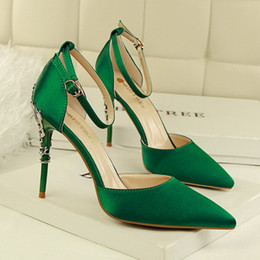 Wholesale White Fashion Heels Korean - Korean style fashion sexy stiletto metal heel dress shoes silk pointed toe pumps candy color metal high heels wedding shoes 283-2