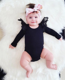 Wholesale Cute Lace Rompers - 2017 Boys Girls Baby Rompers Summer Long Sleeve Newborn Onesies Cotton Lace Toddler Romper Cute Pinkycolor Infant Bodysuit Boutique Clothes