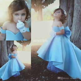 Wholesale Big Bow Dress Girls - Sweety Baby Blue High Low 2017 A line Flower Girls Dress Off-Shoulder Sweetheart sleeveless Zipper with Big bow Children Birthday Party Gown
