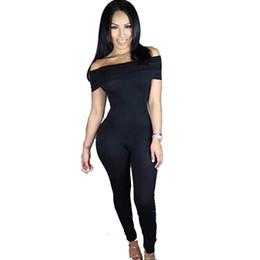 Wholesale Slash Leggings - Wholesale- exy Women Summer Clubwear Bodysuit Slash Neck Party Jumpsuit Romper Long Trousers Leggings Nightclubs Loaded