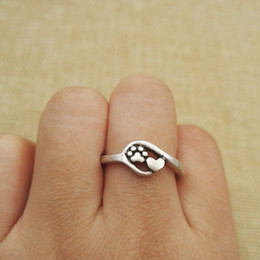 Wholesale Dog Bands - 1pcs drop shipping Charm Jewelry Small dog and cat paw print antique silver plated heart and Paw Print Ring adjustable rings