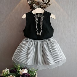Wholesale Korean Tulle Shirt - korean children summer clothes sets sleeveless girl vest t-shirt with tulle lace tutu skirts 2pcs sets