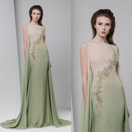 Wholesale Ombre Mermaid Dress - Tony Ward 2017 Ombre Green Prom Dresses Mermaid Long Embroidery Bateau Neck Evening Gowns Sweep Train Formal Party Dress