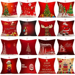 Wholesale Pillow Balls - 16 Styles Pillow Case Christmas Pillow Cases Cushion Cover Christmas tree Reindeer Santa candy ball Pillow Case Square Xmas Pillow covers