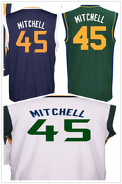 Wholesale Mens Polyester Sport Shirts - 2017 Draft Picks #45 Donovan Mitchell Basketball Jerseys Cheap Mens Blue White Printed Donovan Mitchell Jersey Sports Shirt High Quality