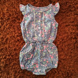 Wholesale Baby Floral Jeans - Summer Baby Girls Rompers Denim Floral Sleevelless O-Neck Jumpsuits 4-24Months Lace Fahion Children Kids Jeans Clothing