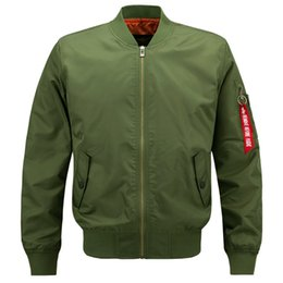 Casacos militares on-line-Plus Size Bomber Jacket vôo Jackets Mens Casual Voar Coats Long Sleeve Slim Fit roupa militar casacos bordados HOT