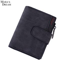 Wholesale snap purses - Wholesale- Mara's Dream Lady Short Clutch Wallet Letter Snap Fastener Zipper Solid Vintage Matte Women Wallet Female Purse Short Purse
