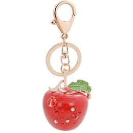 Wholesale Best Apple Fruit - Bing Bling Crystal Rhinestone Cute Fruits Apple Metal Keychain Keyring Car Keychains Purse Charms Handbag Pendant Best Gift