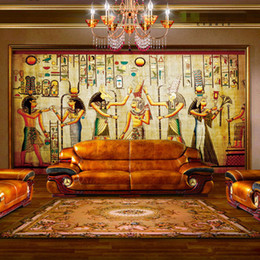 Wholesale Ancient Paper - Wholesale- Ancient Egyptian Pharaoh Photo Wallpaper Retro Art Mural Wallpaper Hoom Decor Non-Woven paper Wall Mural