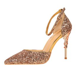 Wholesale Evening Dress Thin Straps - Luxury Glitter Sandals Ankle Strap Women Pumps 2017 Summer Style Thin High Heels Women Wedding Shoes Ladies Evening Party Shoes B283-5