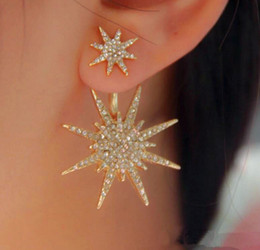 Wholesale Ear Hanging Earrings - Fashion Korean Style Simple Earrings Trendy Exquisite Sexy Women's Fashion Diamond Snowflake Plating Alloy Ear-hanging Earrings