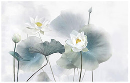Wholesale Country Paint - 3D photo wallpaper custom 3d wall murals Computer hand - painted lotus painting wall painting wallpaper 3d living room wall decor