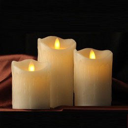 Wholesale Led Candles Timers - 3pcs Moving Wick Dancing Flame Wax Pillar LED Candle Set Tears with Remote Control Timer Dimmer Christmas Wedding Decor