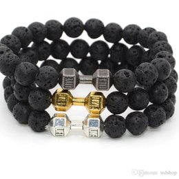 Wholesale Men Dumbbell - Men Women Lava Rock Beads Yoga Bracelet Natural Stone Charka Charm Bracelets Fitness Fashion Dumbbell Gemstone Bracelet