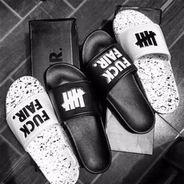 Wholesale Indoor Material - Hip-Hop Slippers Brand Original undefeated Slippers Lovers Indoor Home Slippers Genuine Leather Upper material Non-Slip Soles