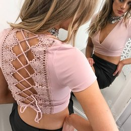 Wholesale Laced Backless Blouse - Sexy Ladies Tight V-Neck Short Sleeve Lace Up Crop Tops Backless Womens Jumper Blouse T-Shirt Shirt Tee Solid Color