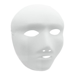 Wholesale Christmas Decoration Pvc - DIY White Blank Mask Halloween Masquerade Party Hand Painting Decoration Full Face Masks for Female 12pcs   lot 1ZJ0001-female-w