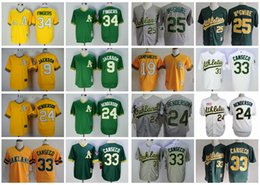 Wholesale Athletic Greens - Throwback Oakland Athletics Baseball Jerseys 33 Jose Canseco 9 Reggie Jackson 24 Rickey Henderson 34 Rollie Fingers 25 Mark McGwire Jerseys