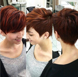Wholesale Short Wig Cap - Lace wigs Afro short pixie cut wigs Glueless Cap Color 1B#Indian Remy Human Hair Machine Made Wig For Black Women In Stock