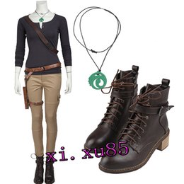 Wholesale Raiders Shirt L - New Lara Croft Tomb Raider Cosplay Costume Outfit Long Shirt and Pants Boots Customized