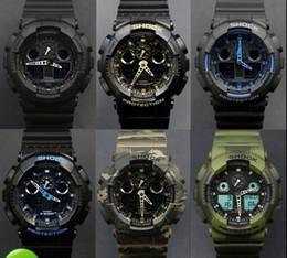 Wholesale S Original - Free Shipping 2016 G LED Waterproof Swimming G100 men sport Camouflage watches Classic S Shock denim blue 110 watch Original Case