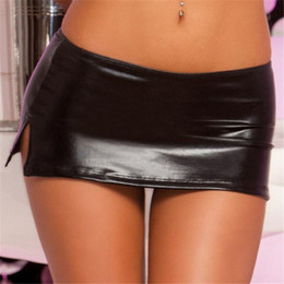Wholesale G String Pvc - Free Shipping Sexy Black PVC Wet Look Faux Latex Micro Mini Skirt with G-String Party Club Stripper Fetish Exotic Pole Dancewear