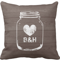 Wholesale Pillow Covers Country - Throw Pillows Case, Monogrammed Country Chic Mason Jar Square Sofa and Car Cushions Cover (16inch,18inch,20inch)