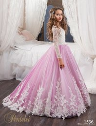 Wholesale Jewel Designs For Dresses - Unique Design Flower Gageant Girl's Gowns Sheer Lace Two-Color Ball Gown Flower Girls' Dresses For Wedding or Pageant Ruched
