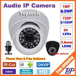 Wholesale Audio Dome Cameras - CCTV Mini HD 720P 1080P IP Camera Audio Input With External Pickup Microphone ONVIF P2P Security Dome Indoor surveillance Cam