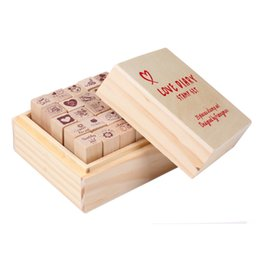 Wholesale Wooden Love Stamp - Wholesale- 25pcs Love Diary Rubber Wooden Stamp Set DIY With Wooden Box