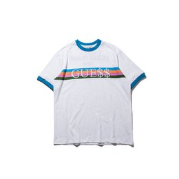 Wholesale Rainbow T Shirt Women - new tide men t shirt 2017 A$AP Rocky joint model Rainbow Embroidery Tee hip hop casual kanye west women men t shirt