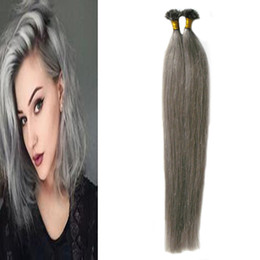 extensions de cheveux kératiniques Promotion Straight Grey Hair Extensions ongle U tip cheveux extensions 100g 1g / strand argent Capsules keratin fusion cheveux extensions