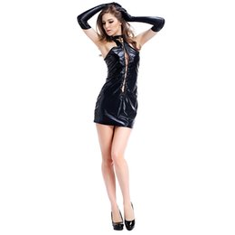 Wholesale Woman Leather Lingerie Gloves - Sexy Costumes Women Cosplay Underwear Lingerie Intimate Rivet Buckle Tight Leather Latec Dresses DS Night Club Dress with Gloves