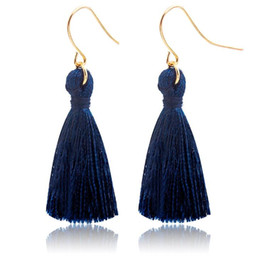 Wholesale Tassel Earrings Hook - Sapphire Blue Fashion Sweet Tassels Earring Fashion Golden Fish Ear Hook Antique Dangle Chandelier Women Pendant Earrings Party Jewelry Gift