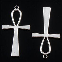 Wholesale Tibetan Beads For Jewelry Making - Jewelry diy 50pcs Tibetan Silver Large ankh egyptian cross Charms Pendants for necklace bracelet key ring Making Craft 55*29mm